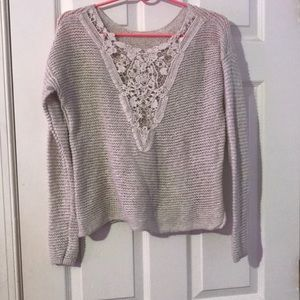 Lace back tan sweater